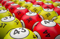 Lottery balls d rendering of yellow and red Stock Photos