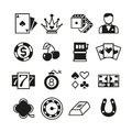 Lottery, roulette, casino, slot machine, gambling vector icons