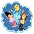 Lottery winners celebrating leaping in the air and cheering with delight in front of an explosion with a dollar sign depicting Royalty Free Stock Images