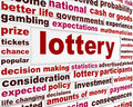 Lottery word clouds message risk investment creative business background Royalty Free Stock Photography