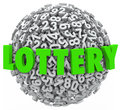 Lottery word number ball sphere gambling jackpot the in green letters on a of numbers to illustrate on a raffle or other betting Stock Photo