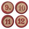 Lotto Numbers Nine Ten Eleven Twelve Royalty Free Stock Photo