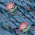 Lotus background. Floral seamless pattern with water lilies and banana leaves on deep blue background. Diagonal rhythm.