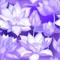 Lotus buds and flowers seamless fabric print., Water lilly nelumbo aquatic plant botanical design. Royalty Free Stock Photo