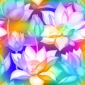 Lotus buds and flowers seamless wallpaper., Water lilly nelumbo aquatic plant floral graphic design. Royalty Free Stock Photo