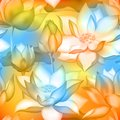 Lotus buds and flowers seamless wallpaper., Water lilly nelumbo aquatic plant illustration. Royalty Free Stock Photo