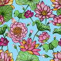 Lotus floral seamless pattern. Hand drawn colorful background. Royalty Free Stock Photo