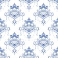 Lotus flower in mandala meditation style seamless pattern in Porcelain tone or light blue and white background Royalty Free Stock Photo