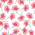 Lotus flower pattern flowers in seamless watercolor Stock Photo