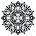 Lotus flower representing meaning : exactness, spiritual awakening, and purity In Buddhism in black and white in mandala style