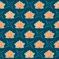 Lotus Flower Seamless Pattern Royalty Free Stock Photo