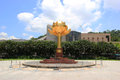The Lotus FlowerStatue, featuring a lotus flower in full bloom a Royalty Free Stock Photo