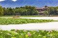 Lotus Garden Boat Buildings Summer Palace Beijing, China Royalty Free Stock Photo