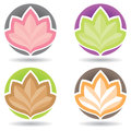 Lotus logo logos icon with leaves on a circle background Royalty Free Stock Photo
