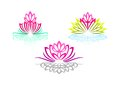 Lotus logo, woman yoga, beauty flower massage, pretty spa sense, reflection wellness, and natural relax concept design.