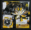 Lotus original painting illustration modern white and yellow colors Stock Photography