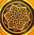 Lotus pattern on gold tray Royalty Free Stock Images