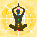 Lotus pose and chakra points