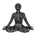 Lotus Pose with mudra hands, yoga position posture, hand drawn