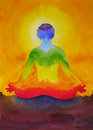 Lotus pose yoga with mudra hand, watercolor painting in sunrise, Royalty Free Stock Photo
