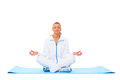 A lotus position in practise of yoga on white background Stock Photos