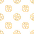 Lotus root, slices of exotic fruit in seamless pattern. Vector