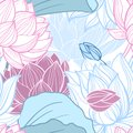 Lotus seamless pattern gentle flowers vector illustration Stock Photography