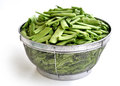 Loubieh or green beans chopped washed and put in a strainer Royalty Free Stock Image