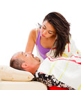 Loud snoring husband wife awakening to the and disturbing sound Royalty Free Stock Photo