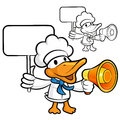 Loudspeaker to promote the  duck chef Royalty Free Stock Photos