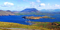 Lough kay view over kerry peninsula from top of geohaun mountain on valentia island Stock Image