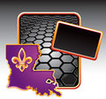 Louisiana icon on black hexagon advertisement Royalty Free Stock Photo
