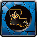 Louisiana icon on blue cracked web button Stock Photography