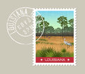 Louisiana postage stamp of wetland nature preserve.