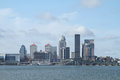 Louisville Kentucky daytime skyline as seen from across the Ohio River Royalty Free Stock Photo