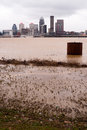 louisville Kentucky Downtown City Skyline Ohio River Flooding Royalty Free Stock Photo