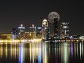 Downtown Louisville Kentucky Skyline Moon Night Royalty Free Stock Photo