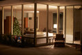 Lounge decorated for christmas viewed from outside horiztonal image of Stock Image