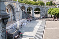 Lourdes june mass front basilica rosary place roman catholic pilgrimage miraculous healing visited million pilgrims every year Stock Photo