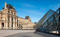 Louvre and the glass pyramides in paris pyramids napoleon courtyard of Stock Images
