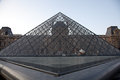 Louvre museum entrance paris detail of the pyramid close to main Royalty Free Stock Photos
