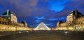 The louvre museum at night in paris on september is one of largest museums world and one of major tourist Royalty Free Stock Images