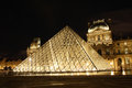 Louvre museum in Paris at night Royalty Free Stock Image