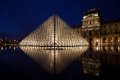 Louvre museum in paris by night with illuminated pyramid and blue sky Stock Photography