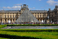 Louvre museum paris is one of the largest in the world view of the and the glass pyramid Stock Image