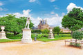 Louvre museum and park des Tuileries Royalty Free Stock Photo