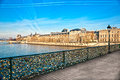 Louvre Museum and Pont des arts, Paris - France Stock Image