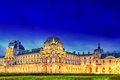 Louvre museum on september night view paris france Royalty Free Stock Photos