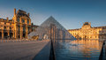 Louvre museum at sunset paris france april is one of the world s largest museums every year visits more than Royalty Free Stock Image
