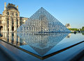 Louvre paris art gallery early morning Stock Photography